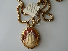 Vintage Cameo locket pendant necklace. Gold plated chain