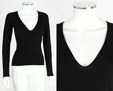 NWT YVES SAINT LAURENT YSL RIVE GAUCHE BLACK SILK KNIT PLUNGING V-NECK TOP SZ L