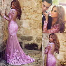 Custom Mermaid Long Sleeve Lace Prom Dresses Formal Evening Party Pageant Gown