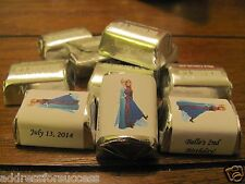 60 Personalized Disney Frozen Anna & Elsa Candy Hershey Nugget Labels Wrappers