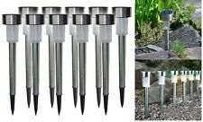 10 X SOLAR LIGHTS POST GARDEN PATIO OUTDOOR LED LIGHTING STAINLESS STEEL POWERED