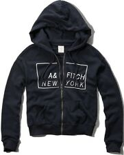 NWT Abercrombie & Fitch Womens Navy Graphic Logo Hoodie Sweatshirt ~ XS