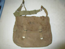 WWII ORIGINAL US ARMY M36 MUSETTE KHAKI FIELD BAG DATED 1942 & STRAP