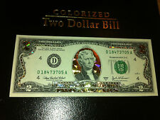 A LOT 5 -22 K GOLD $ 2 DOLLAR BILL HOLOGRAM COLORIZED  LEGAL USA CURRENCY