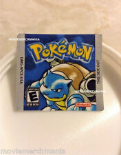 Pokemon Blue Version Cartridge Replacement Label Sticker Gameboy Game