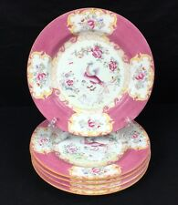 Old Globe Stamp MINTON COCKATRICE PINK Dinner Plate Set Of 5 SEE DESCRIPTION