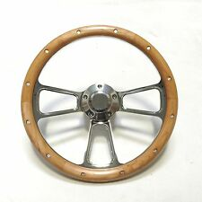 """Chrome & Real Alderwood Steering Wheel 14"""" Fits Any Car or Truck SHIPS FREE!"""