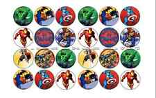24 x MARVEL HULK SPIDERMAN SUPERMAN PRE-CUT edible WAFER CARD cup cake toppers