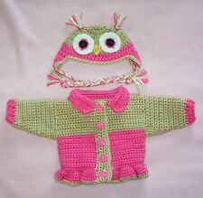"""American Girl Sweater Doll Clothes HtPink Owl Sweater Hat Fits American Girl 18"""""""