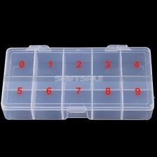 Clear Acrylic Plastic Empty Storage Nail Tips Beads Box Case With 10 Space NA