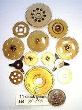 Lot of 11 vintage clock brass small and large gears wheels Steampunk parts #115