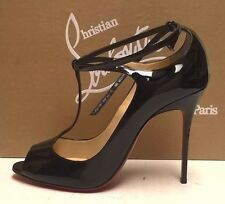 Christian Louboutin Talitha 100 Black Patent Peep-Toe Pumps Stiletto Heels 40