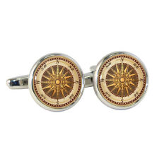 Vintage Style Compass Cufflinks Victorian Steampunk Nautical Map Brand New BNIB