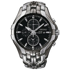 Brand New Seiko SSC139 Solar Alarm Black Ion Chronograph Stainless Men's Watch