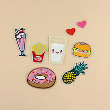 8Pcs/Set Embroidery Donuts Pineapple Food Sew/Iron-On Patches Clothes Appliques