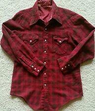 Vtg 60s 70s Red Wool Shadow Plaid Western Shirt Rockabilly Cowboy Pearl Snaps S