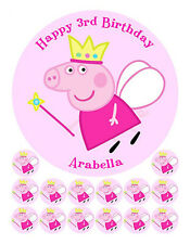 PEPPA PIG PERSONALISED EDIBLE ICING CAKE IMAGE FREE 14 CUPCAKE CUP CAKE TOPPERS
