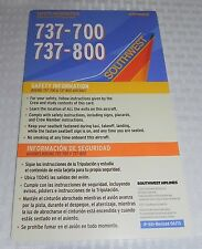 Southwest Airlines Boeing 737-700 737-800 Safety Information Card Revised 06/13