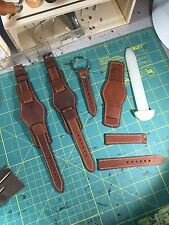 Distressed Horween Leather Bund Watch Strap 24mm 22mm Or 20mm