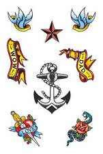Sailor Theme Tattoos.Temporary Stick on Tatt, Fancy Dress Accessory, Washes Off