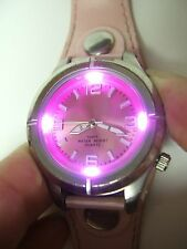 UNIQUE WOMEN'S ATHLETIC WORKS AW146TM PINK FACE WATCH ILLUMINATION BUTTON-PREOWN