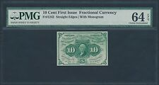 Fr1242 S.E. W/ Monogram 10¢ First Issue Fractional Currency Pmg 64 Epq Br1198