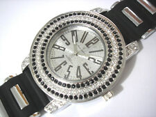 Ice Face Extra Bling Bling Rubber Band Men's Watch Silver / Black
