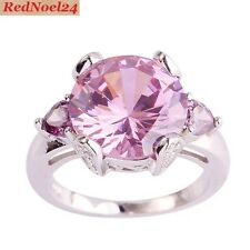 Graceful Round Pink Topaz & Pear Amethysts 925 Silver Stamped Ring Size 9 - R