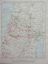 1918 WW1 MAP EGYPTIAN EXPEDITIONARY FORCE ADVANCE MOUNT EPHRAIM & SHARON 1917