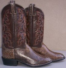 Custom Hand Made, Genuine Brown Python Snake Skin Cowboy Boot, Size (10 1/2