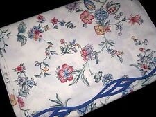 Vintage LAURA ASHLEY Chinese Silk Floral FULL Size Flat Bed SHEET Made in USA