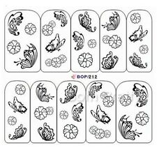 Nail Art Water Decals Transfer Stickers Black Butterfly White Flower Design Tips