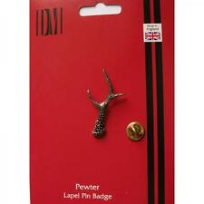 Roe Deer Antler Pewter Lapel Pin Badge Chevreuil Western Birthday Present