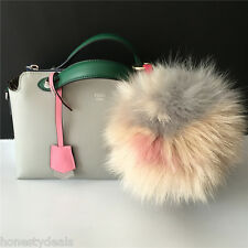 "7"" 17cm Beige Grey Pink Blue Multi-color Combo Fox Fur Pompom Ball Handbag Charm"