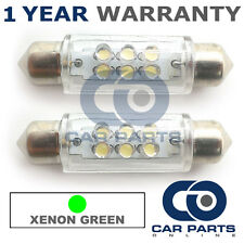 2X GREEN NUMBER PLATE INTERIOR LIGHT 6 DOME LED BULBS 42MM 04GX2