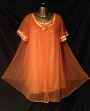 VINTAGE SEARS ORANGE PEIGNOIR ROBE SET SHEER FRILLY SOFT NYLON SIZE 32 34 SMALL