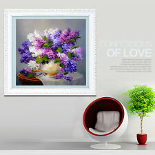 COUNTED DIAMOND CROSS STITCH KIT - Purple Lilac Flower Vase Craft New