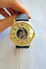 Cat and Mouse Minute Chase Novelty Watch Black and Gold Faux Leather