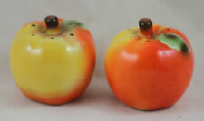 Apple Salt Pepper Shakers Set Cork Stoppers VINTAGE