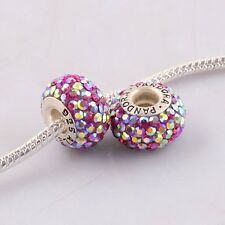 925 High Quality Palevioletred Czech AB Crystal European Charm Bead Pp673 1pc