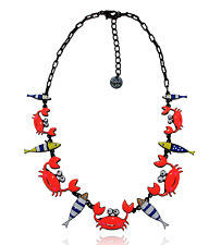Collier sardines et compagnie, crabe orange intense, poissons, lol bijoux 2017