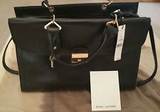 NWT $1595 AUTHENTIC LARGE BLACK LEATHER MARC JACOBS  SATCHEL/CROSSBODY