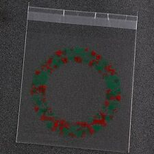 Plastic Resealable Biscuit Bags Christmas Gifts Self-Adhesive About 100pcs