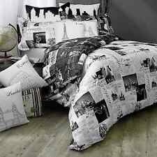 Passport London and Paris Reversible Full/Queen Duvet Cover in Black/White