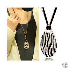 Diamonds Black and White Stripes Zebra Long Necklace