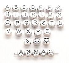 40 Buchstaben Perlen Metall 7mm  FREI WÄHLBAR bsm40