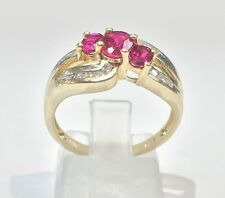 10k Solid Yellow Gold Ruby/CZ Women's Ring. Size 7