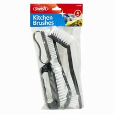 4 WASHING UP BRUSHES BRUSH SCRUB DISH CLEANER HANGING HOOK KITCHEN ASSORTED DW