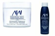 NOUVEAU NAIL ACRYLIC LIQUID 4oz & POWDER CLEAR 20g 0.75oz false tips starter kit