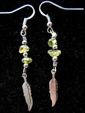 "Navajo Silver Eagle Feather earring 2¼"" & Peridot nugget by Roseanne Manygoats"